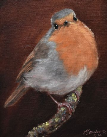 John Silver Original Oil Painting Of Robin On A Branch
